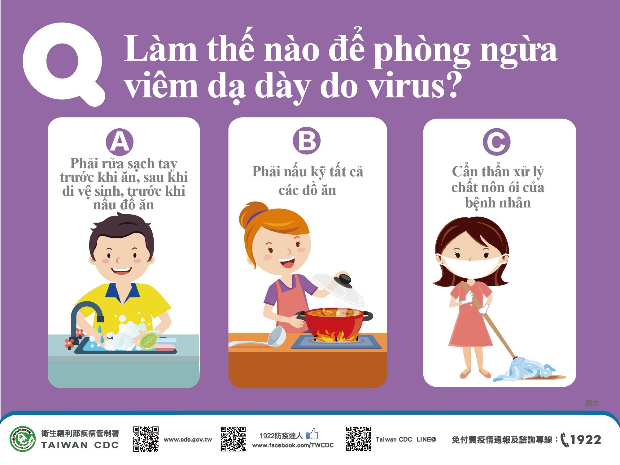 詳如附件【nhấp vào đây】Q:Làm thế nào để phòng ngừa viêm dạ dày do virus?如何預防病毒性腸胃炎(越文)