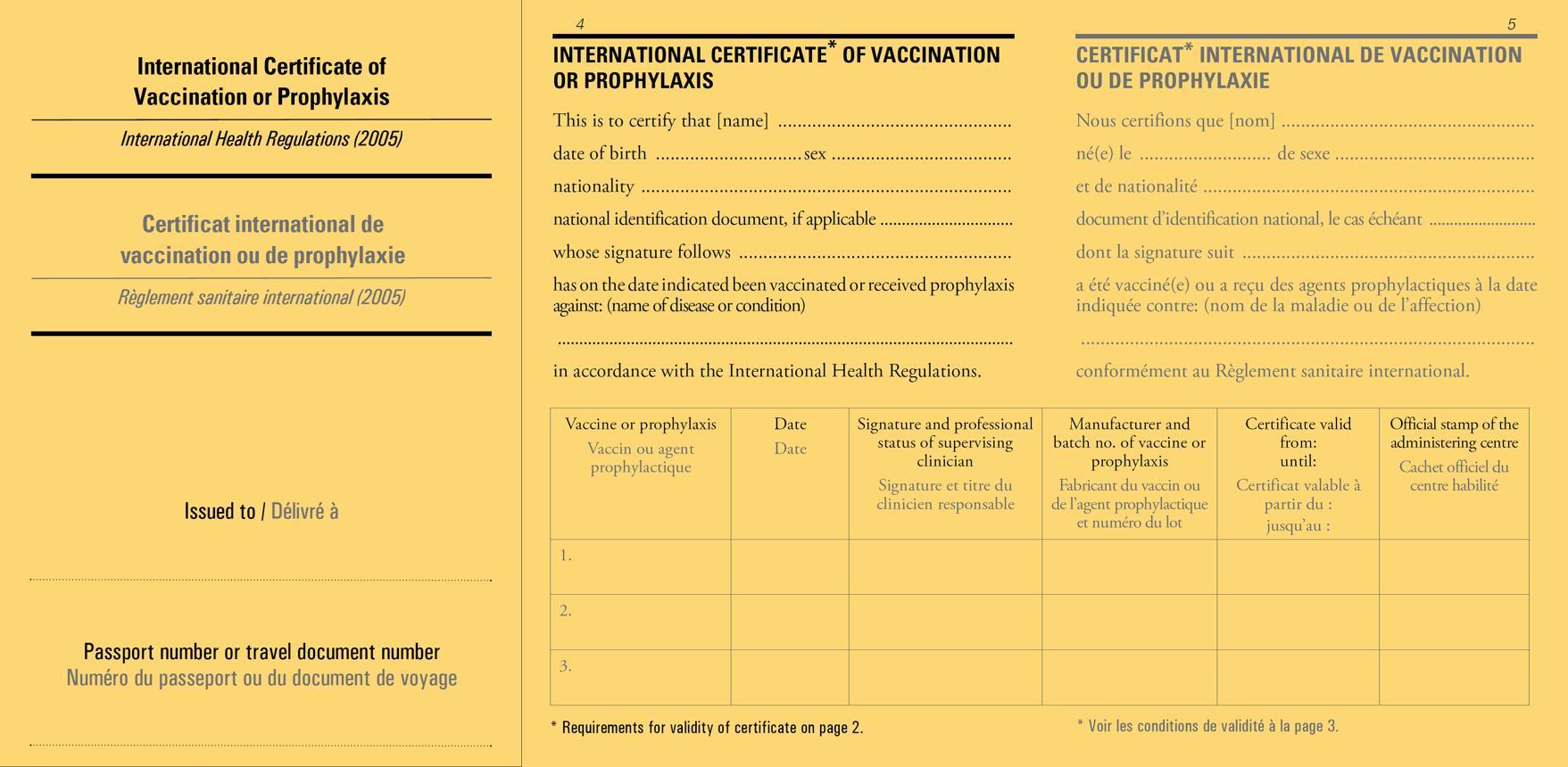 世界衛生組織規定之國際預防接種證明書格式(掃描檔)