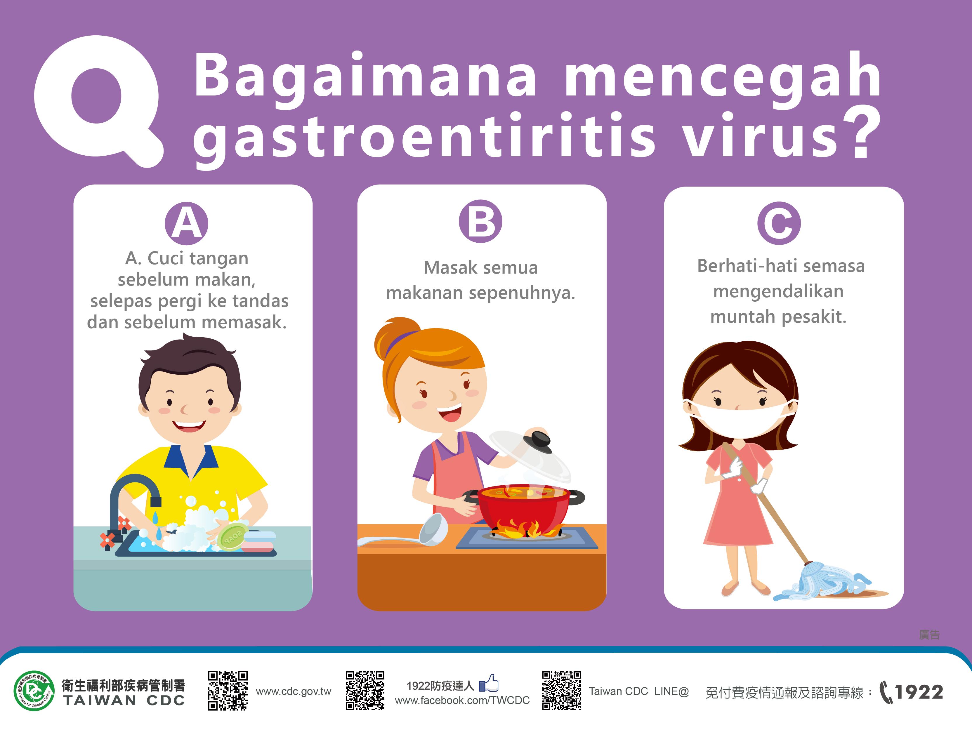 詳如附件【klik saya】Bagaimana mencegah gastroentiritis virus如何預防病毒性腸胃炎(馬來文)