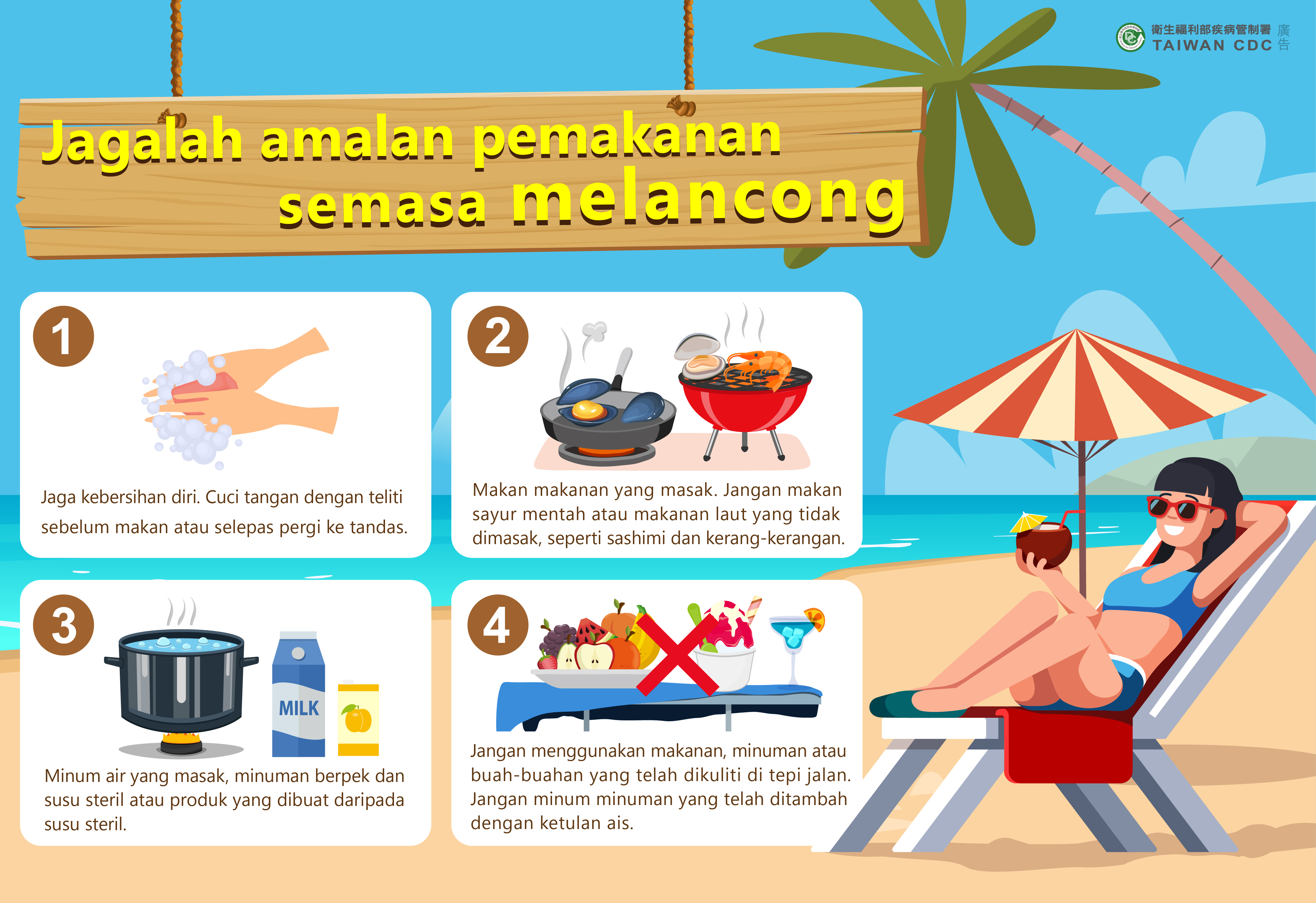 詳如附件【klik saya】agalah amalan pemakanan semasa melancong渡假小心病從口入(馬來文)