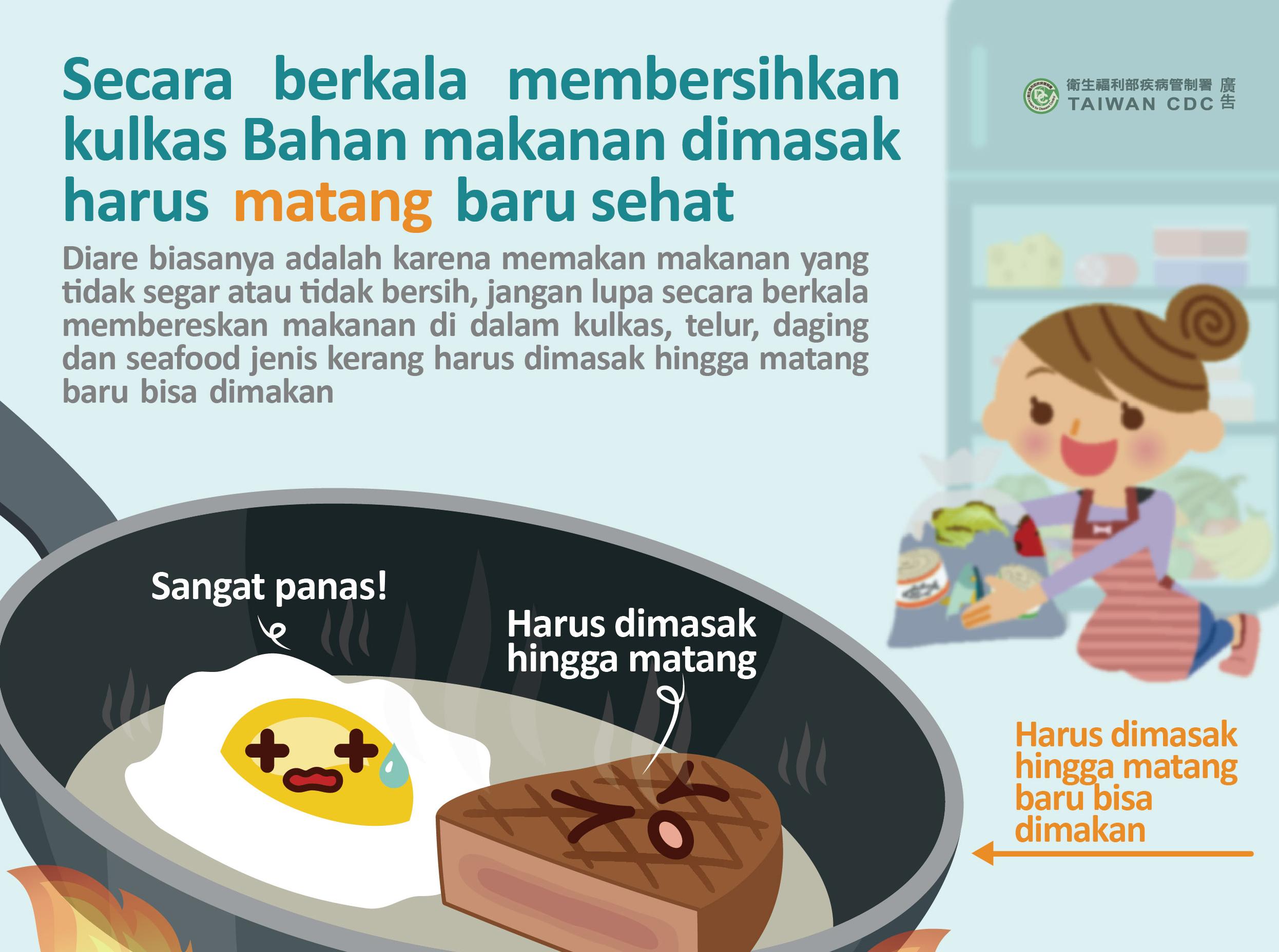詳如附件【Klik】Secara berkala membersihkan kulkas Bahan makanan dimasak harus matang baru sehat定期清理電冰箱 食材煮熟才健康(印尼文)