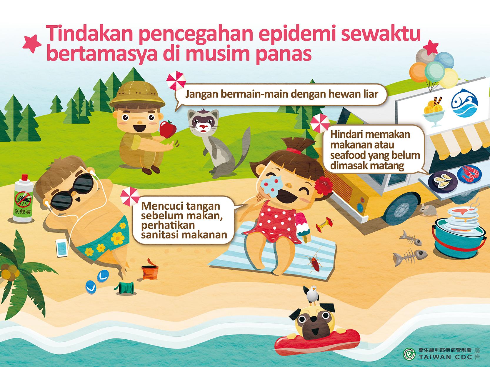 詳如附件【Klik】Tindakan pencegahan epidemi sewaktu bertamasya di musim panas夏日出遊預防病毒性腸胃炎(印尼文)